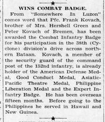 1945 - Frank Kovach in army - Enquirer - 15 Mar 1945