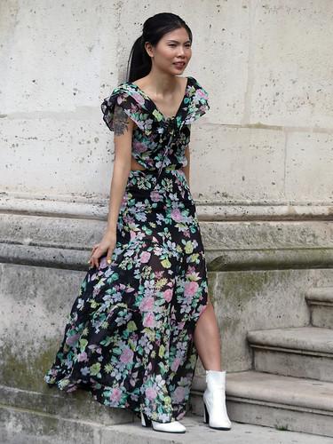 Asian fashion model at work