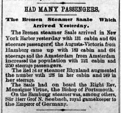 1889 - Saale arrives - Brooklyn Citizen - 10 Nov 1889