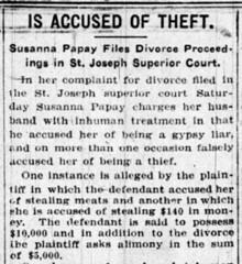1919 - Susannah divorces George Papai - South Bend Tribune - 3 Nov 1919