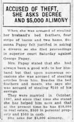 1919 - Susannah divorces George Papai - South Bend News Times - 1 Nov 1919
