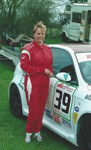 Sarah Heels with her 147 GTA in 2010 at Castle Combe