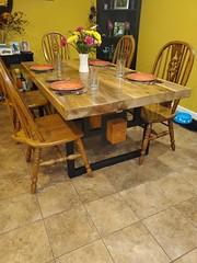 Finished..JM Reclaimed Oak table and custom welded base Jun 2020