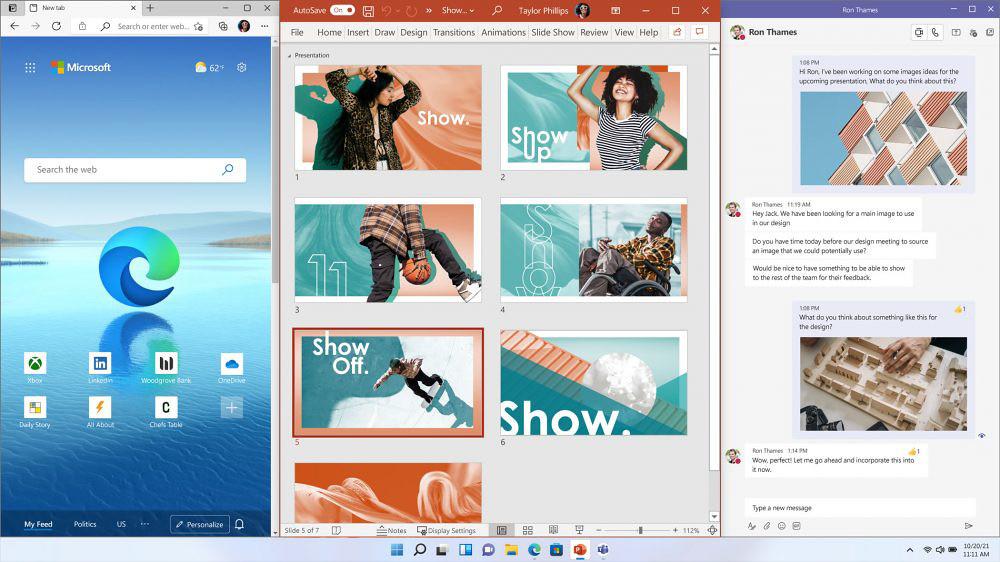 【新聞圖片三】Windows-11-新增諸多全新功能,例如視窗佈局(Snap-Layouts)、視窗群組(Snap-Groups)和新的桌面(Desktops)等強大功能,這些新功能可以幫助使用者整理他們的視窗並優化螢幕空間,讓使用者多工作業變得更加靈活。
