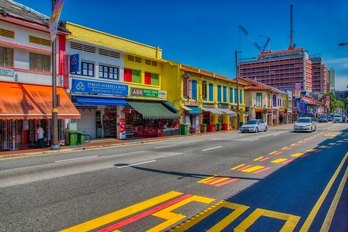 Traditional shop houses on Serangoon road in Little India in Singapore