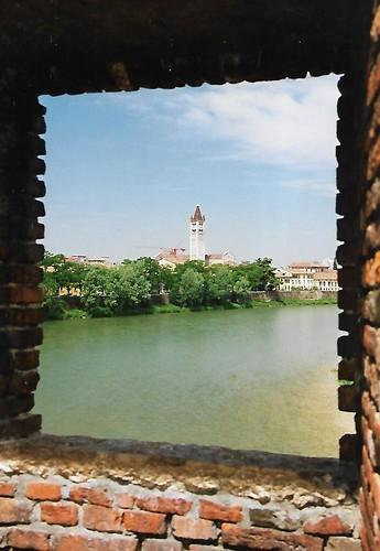 Verona, view from Ponte Scaligero towards the belfry of San Zeno Maggiore