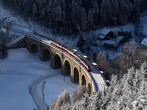 CityJet, Adlitzgrabenviadukt (Fleischmannviadukt), Breitenstein – Wolfsbergkogel, 24.02.2018