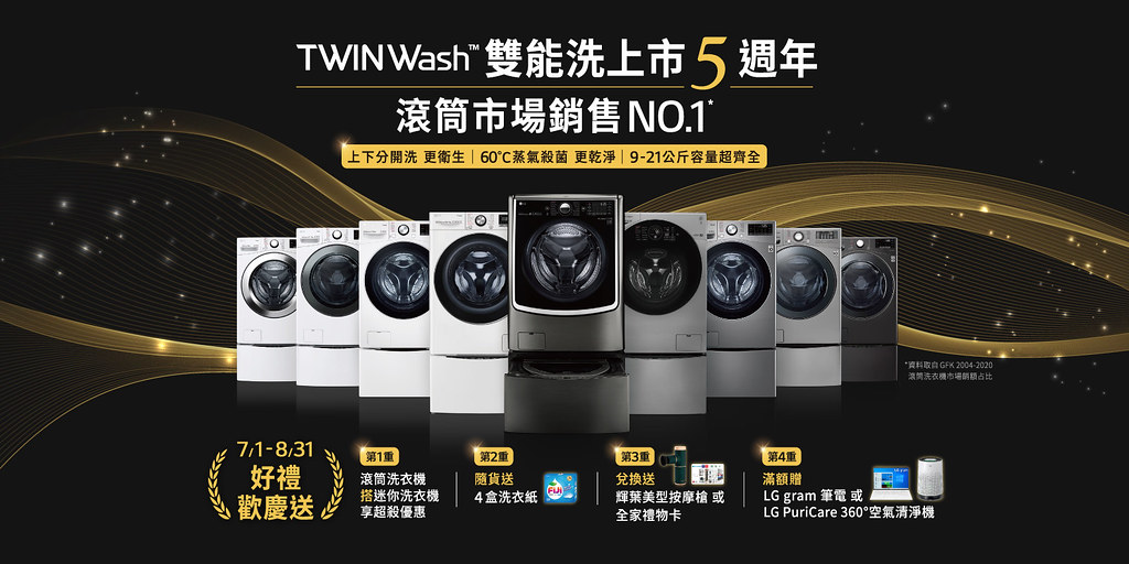 【新聞稿照片1】LG TWINWash™雙能洗 歡慶在台上市5週年 連續10年滾筒市場市佔第一 健康好禮送不完
