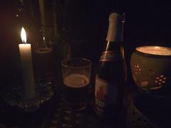 Candle outside. In the Faroe Islands.