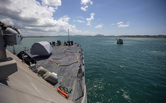 The Freedom-variant littoral combat ship USS Billings (LCS 15) departs Naval Station Guantanamo Bay after completing a brief stop for fuel and provisions.