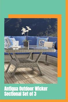 Outdoor wicker patio sectional. Sectional Set of 3 Includes:1 Left Facing Loveseat. 1 Right Facing Loveseat. 1 Corner Unit.Chat Table sold separately.