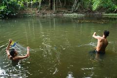 Deploying Gill Net for Fish Sampling