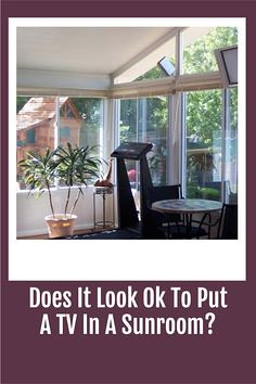 If you want a television in your sunroom then consider creating a hideaway entertainment center that doesnt distract from the beauty of the room. You can do this by either crafting one yourself or by having one installed professionally.