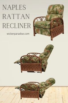 You will enjoy the comfort and appreciate the style by adding our rattan recliner to your decor. Rattan Recliner Benefits:-Available in a soothing rattan, trademark of tropical style. -Sit back and enjoy! This rattan recliner has 3 seating positions inclu