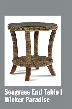 The St. Kitts seagrass wicker end table has the same multi-hued seagrass finish as our larger pieces. Add it to our other pieces to round out your set or use it with your existing furniture to spice up your decor. Has a shelf for storage, a glass top.