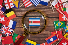 Magnifying glass on the flag of Costa Rica
