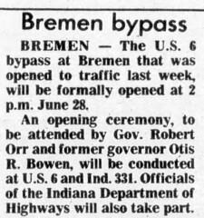 1982 - Bremen US6 bypass opens - South Bend Tribune - 15 Jun 1982