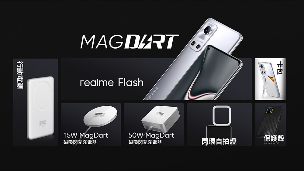realme磁吸技術發表會,亮相7款MagDart產品。