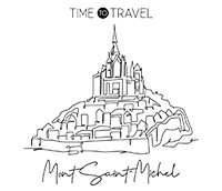 One continuous line drawing Le Mont Saint Michel landmark. World iconic place in Normandy, France. Holiday vacation wall decor poster print concept. Modern single line draw design vector illustration
