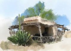 Buggy flats fixed. Cheap. Old Alamo Village, Brackettville. Doodle du jour.