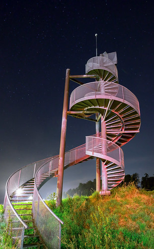 Watch-tower made of spiral staircases near Lelystad Airport, The Netherlands