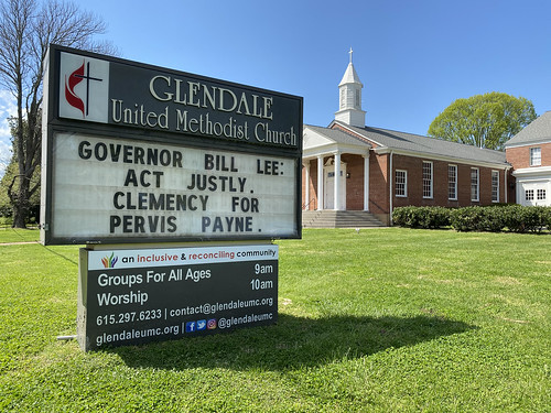 Governor Bill Lee - Act Justly. Clemency for Pervis Payne - Outdoor Sign at Glendale United Methodist Church Nashville TN UMC
