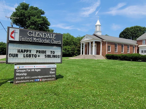 Happy Pride to our LGBTQ+ Siblings! - Outdoor Sign at Glendale United Methodist Church Nashville TN UMC