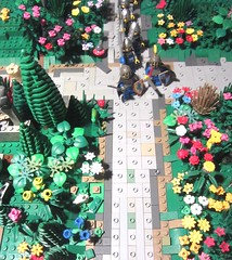Classic Castle: knights Marching through foreign kingdoms nature, forests and moors.  and one starts to let his mind wander in strange directions (AFOL flower man-at-arms and LEGO design MOC vignette)