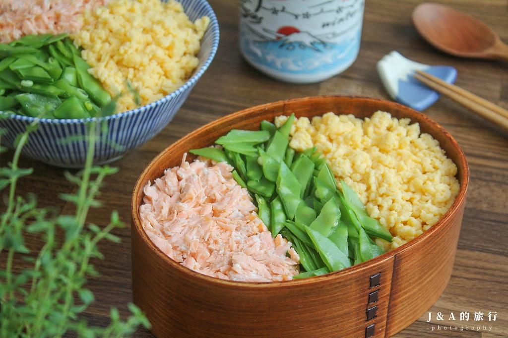 【食譜】鮭魚三色丼。營養美味三色便當,冷熱吃都適合 @J&A的旅行