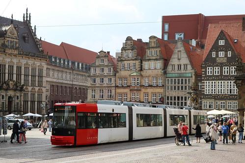 BSAG: Wagen 3010 als Linie 3 zum Weserwehr auf dem Markt