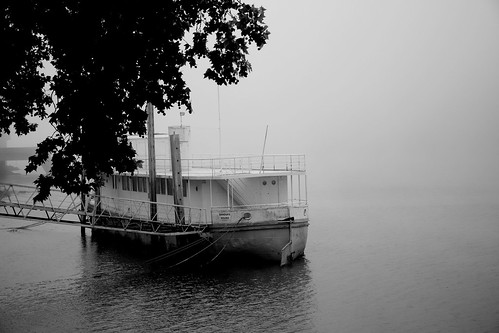 A boat in the mist