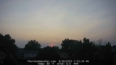 August 16, 2021 - Smoky end to the day. (ThorntonWeather.com)