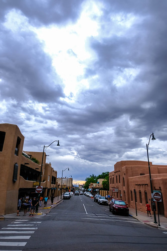 dramatic clouds over Santa Fe