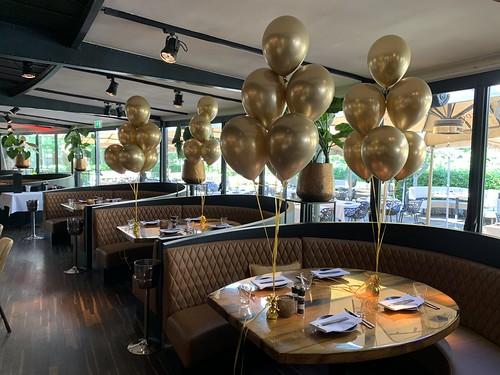 Tafeldecoratie 6ballonnen Chrome Goud Harbourclub Rotterdam