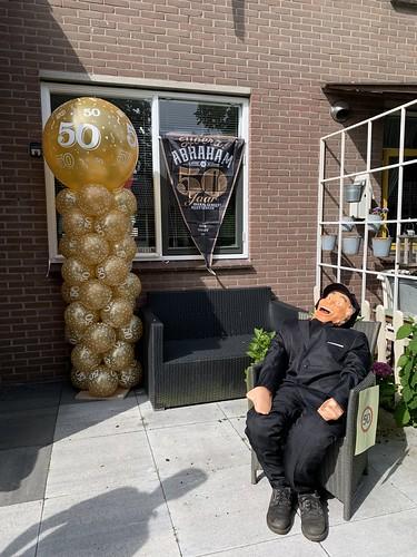 Ballonpilaar Breed Rond Verjaardag 50 Jaar Abraham