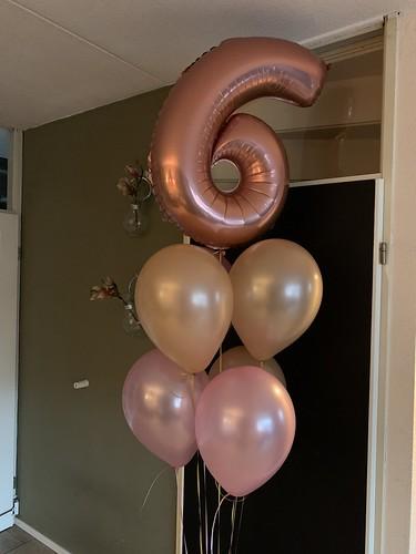 Ballonboeket Verjaardag 6 Jaar Rosegoud