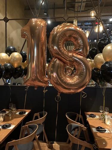 Folieballon Cijfer 18 Verjaardag Cafe in the City Rotterdam