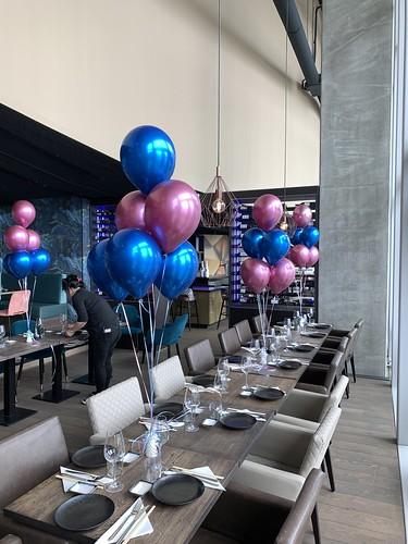 Tafeldecoratie 6ballonnen Gender Reveal Party Babyshower Aqua Asia Club Rotterdam