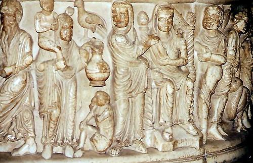 Lucca, Basilica San Frediano, Taufbecken, Geschichte des Moses