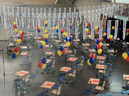 Tafeldecoratie 3ballonnen Diplomering Geslaagd Penta Collega Hoogvliet Rotterdam