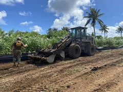 NMCB-5 works on a roads improvement project in Tinian.