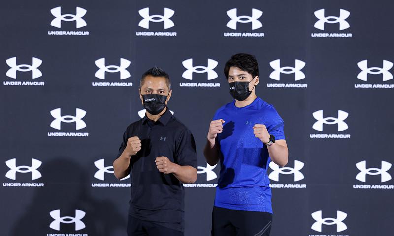 拳擊女王 陳念琴與柯文明教練一同現身Team UA捐贈記者會。