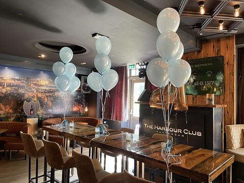 Tafeldecoratie 6ballonnen Lichtblauw The Harbour Club Rotterdam