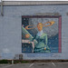 Victorian, allien, woman, with moon, mural,