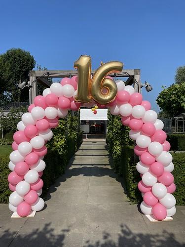 Ballonboog 6m met Folieballon 16 Jaar Verjaardag Sweet 16