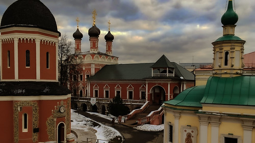 Vysoko-Petrovsky Monastery. A cloudy winter day in Moscow. Russia