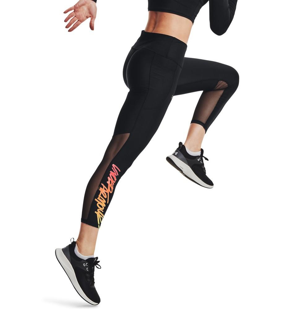 UA 80s緊身八分褲後腰褲頭布料內置入雙面矽膠穩定結構,無論進行深蹲、瑜珈或多向移動訓練時都能專注施力!