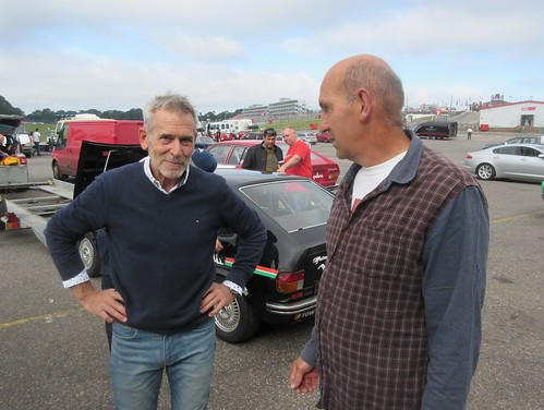 Rob Kirby and Micky Bolton who crossed the line together at Brands in 1983