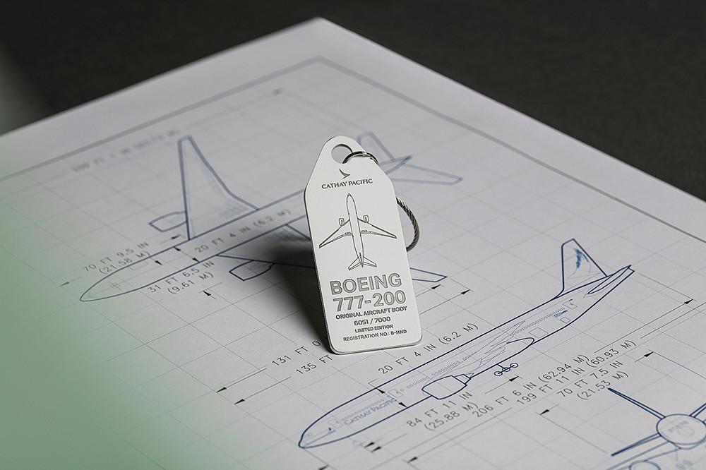 國泰航空波音777-200客機回收鋁材行李掛牌爾-3