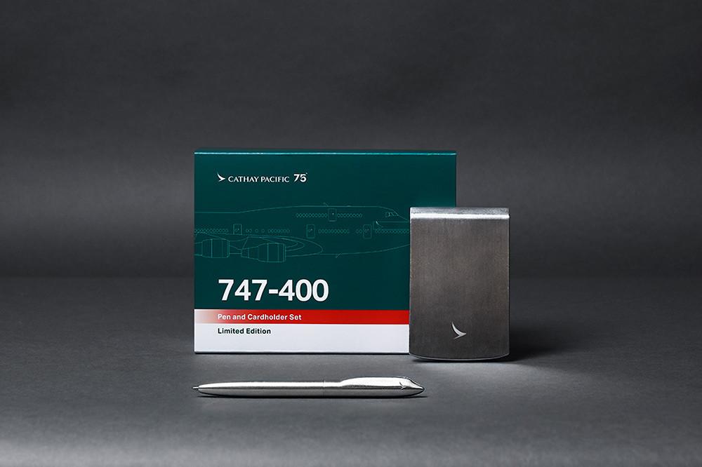 波音747-400-客機回收鋁材金屬筆和卡片盒套裝-1